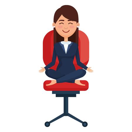 femme d & # 39 ; affaires faisant la position de lotus dans la chaise de bureau illustration vectorielle