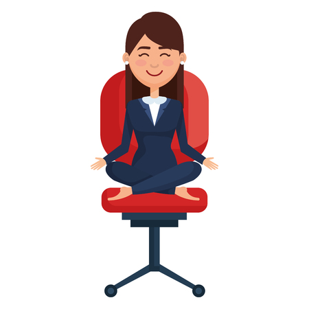 businesswoman doing the lotus position in office chair vector illustration