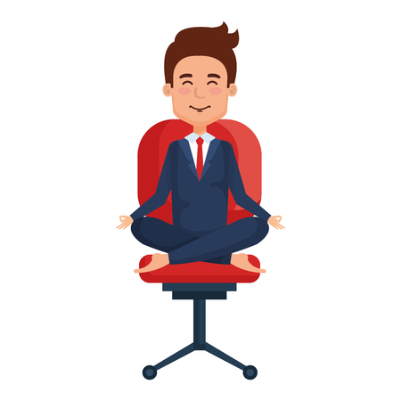 businessman doing the lotus position in office chair vector illustration design Çizim