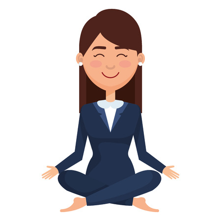 businesswoman doing the lotus position vector illustration design Illustration
