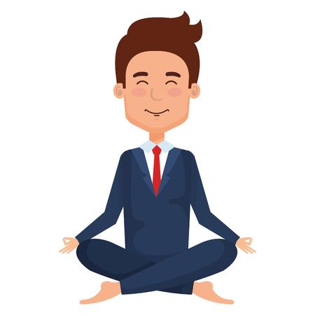businessman doing the lotus position vector illustration design
