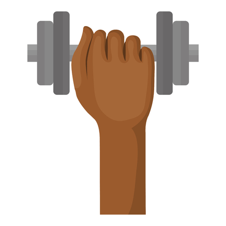 hand with weight lifting device icon vector illustration design