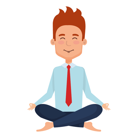businessman doing the lotus position vector illustration design