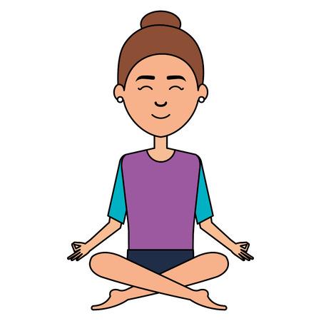 woman doing the lotus position vector illustration design