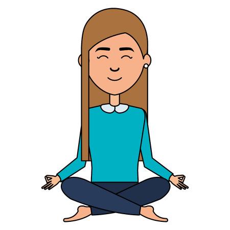 businesswoman doing the lotus position vector illustration design Illustration