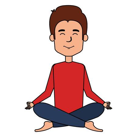 man doing the lotus position vector illustration design