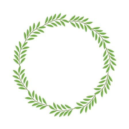wreath leafs decorative icon vector illustration design