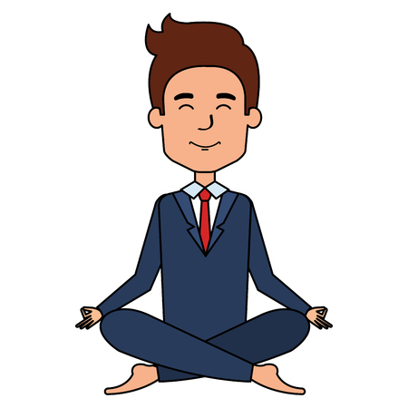 businessman doing the lotus position in the sofa vector illustration design