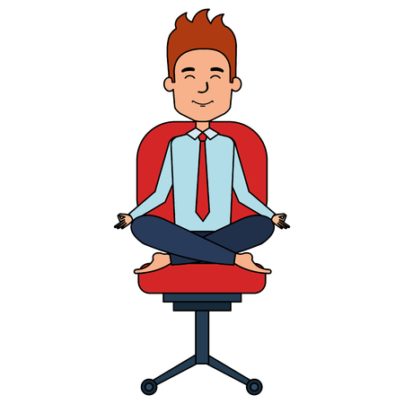 businessman doing the lotus position in office chair vector illustration design Vectores