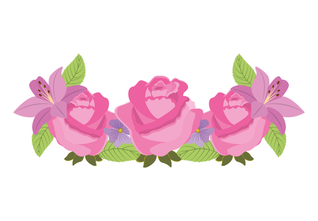 roses floral decoration icon vector illustration design