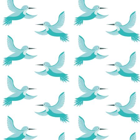 cute birds flying with beautiful plumage pattern vector illustration design Ilustração