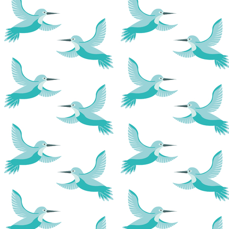 cute birds flying with beautiful plumage pattern vector illustration design Illustration