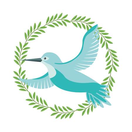 cute bird flying with wreath flowers vector illustration design