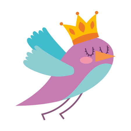 cute bird flying with crown king vector illustration design