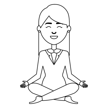 businesswoman doing the lotus position vector illustration design 向量圖像
