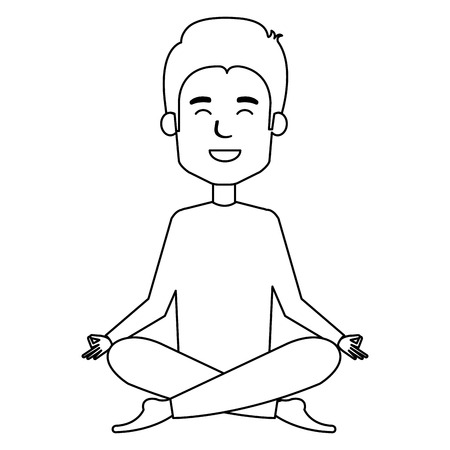 man doing the lotus position vector illustration design