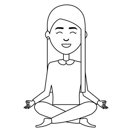 businesswoman doing the lotus position vector illustration design Ilustração
