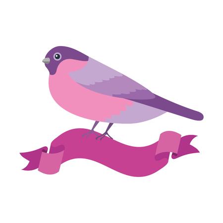 cute bird with ribbon vector illustration design