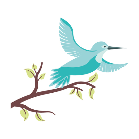 cute bird flying with tree branche vector illustration design