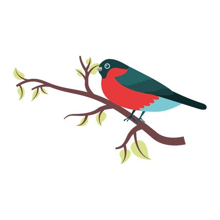 cute bird with tree branche vector illustration design Illustration