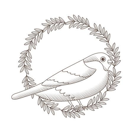cute bird with wreath flowers vector illustration design Ilustração