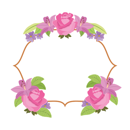 elegant frame with flowers decoration vector illustration design