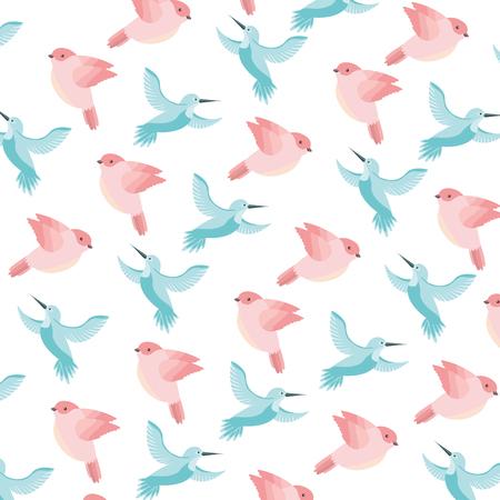cute birds flying with beautiful plumage pattern vector illustration design Иллюстрация