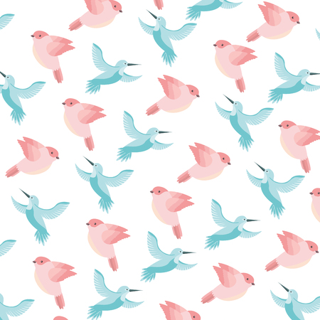 cute birds flying with beautiful plumage pattern vector illustration design Illustration