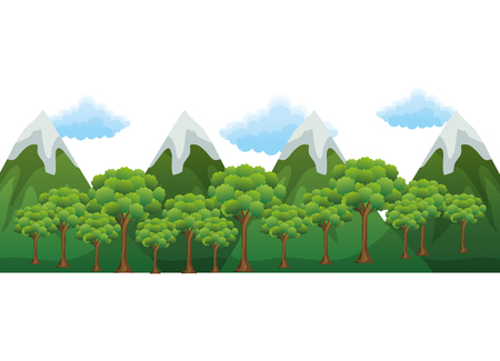 Mountains with trees forest and snow scene vector illustration design Illustration