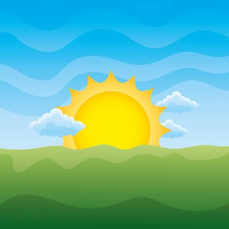 landscape sun and clouds day scene vector illustration