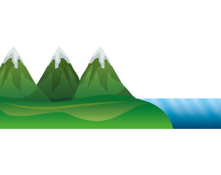 Mountains with waterfall and snow scene vector illustration design Illustration