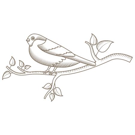 cute bird with tree branch vector illustration design