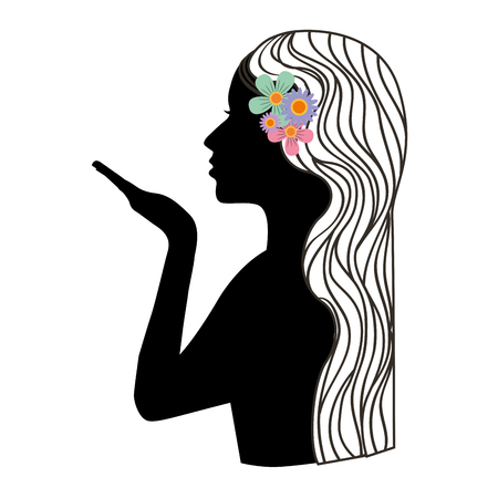 woman silhoeutte with flower in the hair vector illustration design Stock Illustratie