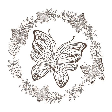 beautiful butterfly flying with floral decoration vector illustration design Illustration