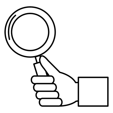 hand with magnifying glass icon vector illustration design