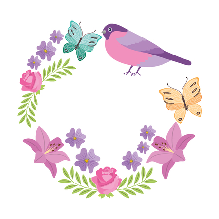 Wreath flowers with butterflies and bird vector illustration design