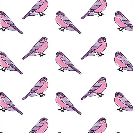 cute birds with beautiful plumage pattern vector illustration design