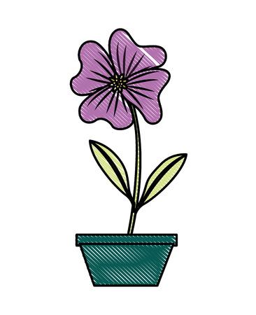 Pervinca del fiore in una progettazione decorativa dell'illustrazione di vettore del vaso Archivio Fotografico - 98761745