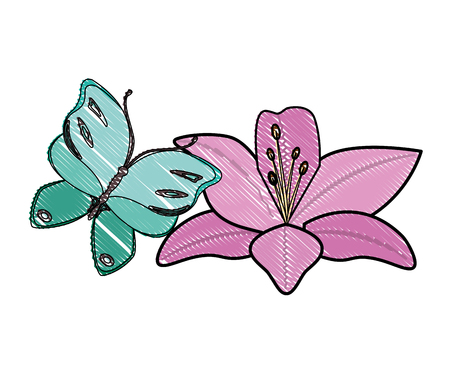 beautiful butterfly flying with flower vector illustration design