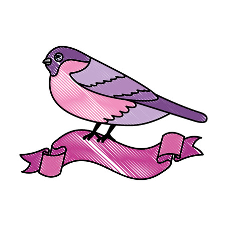 cute bird with ribbon vector illustration design