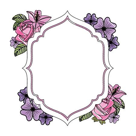 cadre élégant avec des fleurs décoration vector illustration design Vecteurs