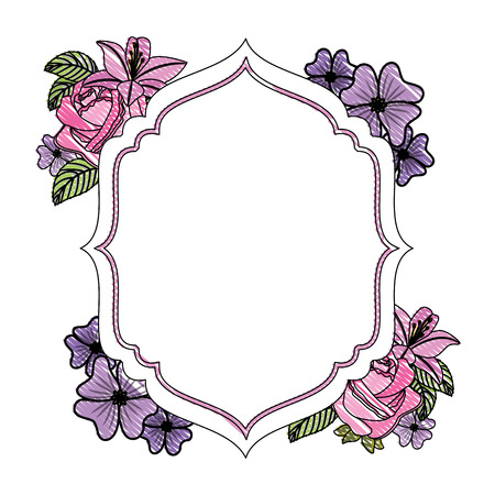 elegant frame with flowers decoration vector illustration design Stok Fotoğraf - 98595879