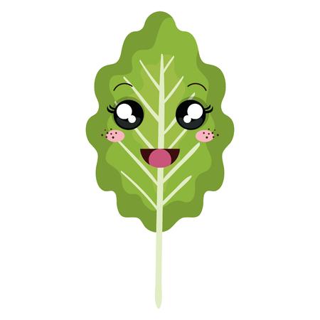 leaf plant healthy food  character vector illustration design Stock Vector - 98726737