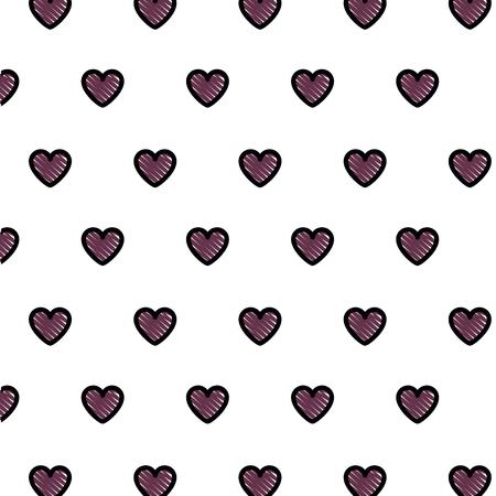 love hearts romantic pattern vector illustration design Illustration