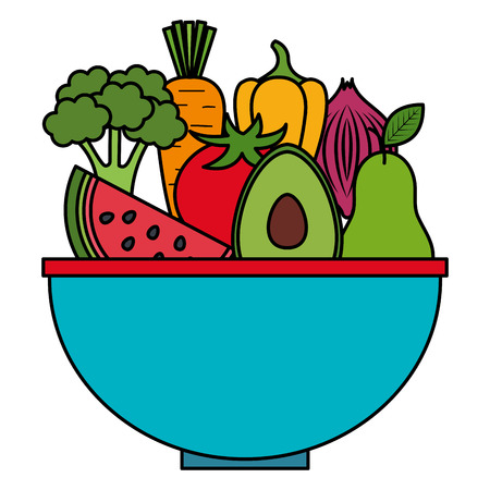 kitchen bowl with vegetables and fruits vector illustration design Ilustração