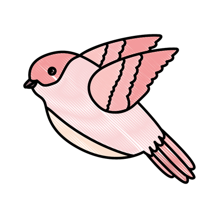 cute bird flying with beautiful plumage vector illustration design