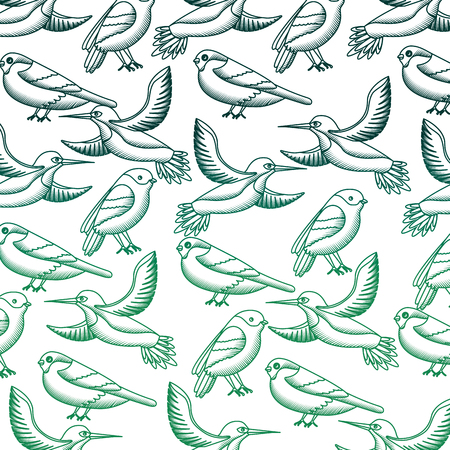 cute birds flying with beautiful plumage pattern vector illustration design Ilustração