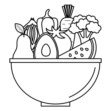 kitchen bowl with vegetables and fruits vector illustration design Illustration