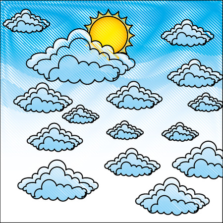 sky with clouds and sun background vector illustration design