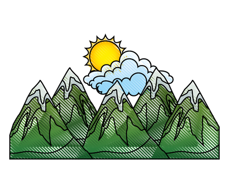 mountains with and sun snow scene vector illustration design